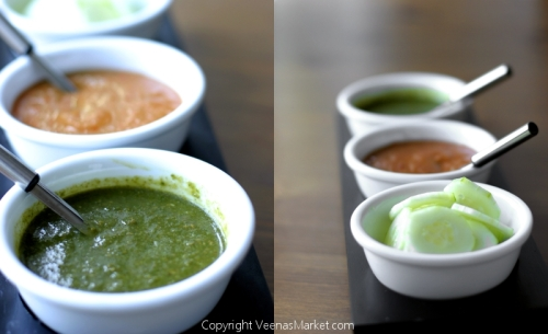 Mint chutney, homemade tomato chutney, crisp slices of cucumber
