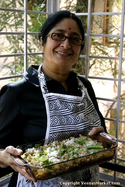 Meera Aunty teaching me how to make sabudana khichdi