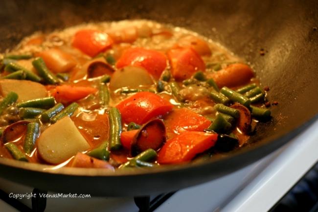 cooking the sambhar vegetables