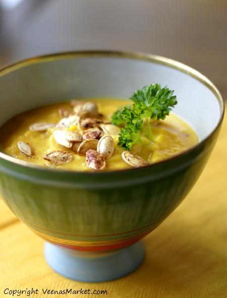 spicy tahini squash and pumpkin soup