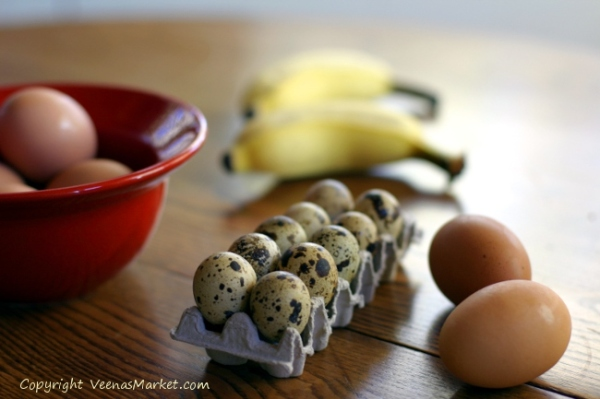 quail eggs and hawaiian bananas