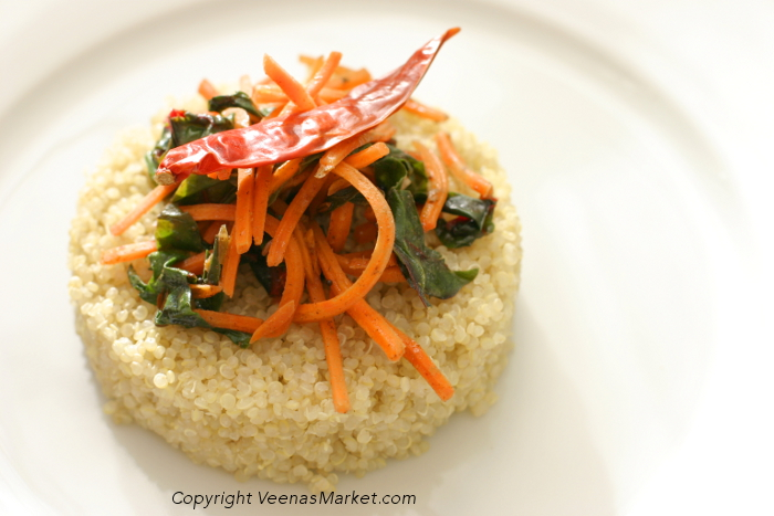 Sauteed carrot and chard on a bed of quinoa
